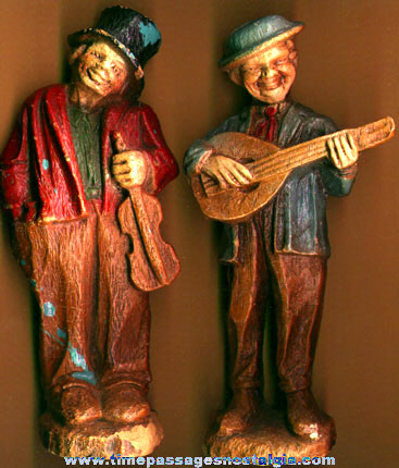 (2) Old Painted Wood Composition Musician Figures / Statues