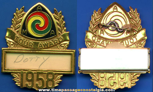 1958 Painted Brass American Motorcyclist Association Tour Award Name Badge