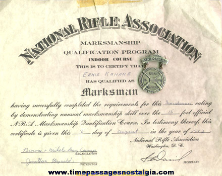 1963 NRA Marksman Award With Certificate