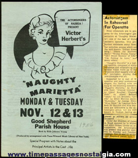 "(5) 1956 Items For The Theatre Play: ""NAUGHTY MARIETTA"""