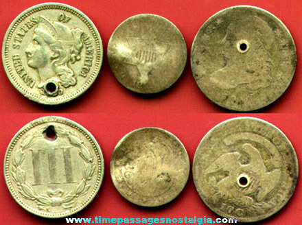 (3) Old Obsolete United States Type Coins