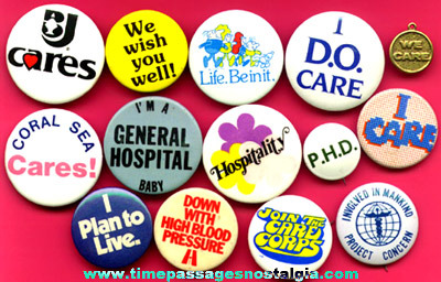 (14) Different Hospital Advertising Pin Back Buttons