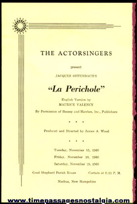 "(3) 1960 Items For The Theatre Play: ""LA PERICHOLE"""