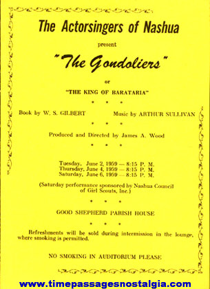 "(5) 1959 Items For The Theatre Play: ""THE GONDOLIERS"""