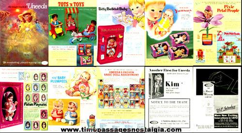 (10) 1970 - 1972 Toy Trade Publication Advertisements For UNEEDA Dolls