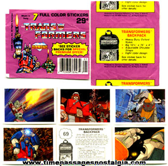 (18) ©1986 TRANSFORMERS Stickers With Wrappers