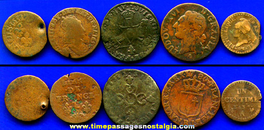 (5) 17th to early 19th Century French Coins