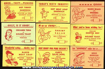 (26) Different Restaurant / Diner Menu Special Advertising Cards