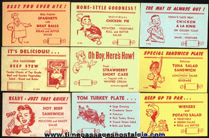 26 Different Restaurant Diner Menu Special Advertising Cards