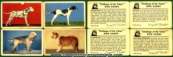 (4) 1949 Sergeant Preston / Quaker Oats Premium Dog Trading Cards