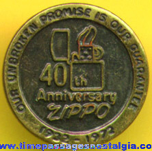 40th Anniversary Zippo Lighter Employee Pin