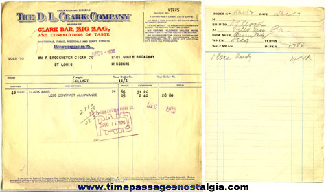 (2) Scarce 1926 D.L. Clark Company Advertising Invoices