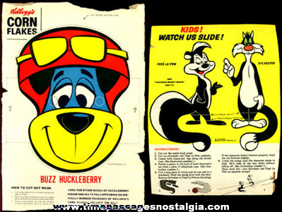 (2) Different Old Cartoon Character Cereal Box Backs