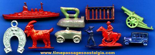 (10) Old Pot Metal Or Lead Cracker Jack Prizes