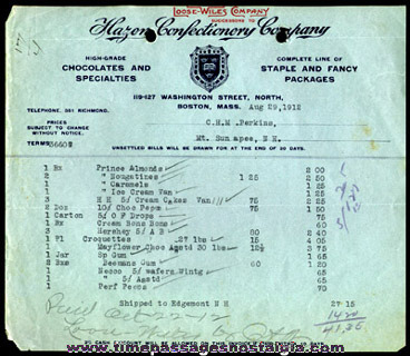 (3) 1910's - 1920's Confectionary Company Advertising Invoices