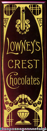 Old Lowney's CREST CHOCOLATES Advertising Glass Door Push