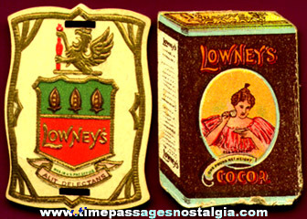 (2) Different Small Old Lowney's Cocoa & Chocolate Advertising Paper Items