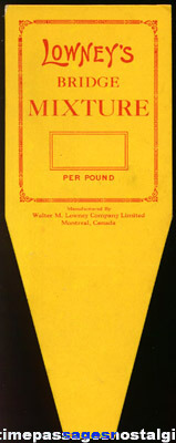 Old Unused Lowney's Candy Counter Advertising Price Card