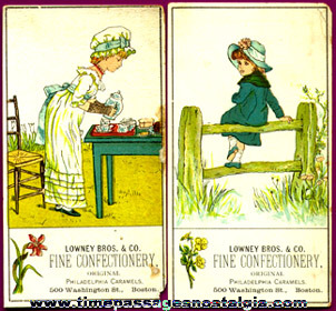 (2) Old Lowney's Confections Advertising Trade Cards