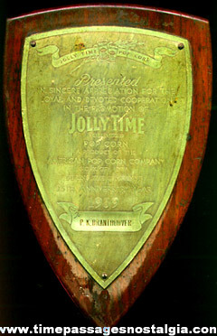 1939 JOLLY TIME POPCORN Employee Award Plaque