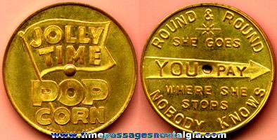 Old Brass JOLLY TIME POPCORN Advertising Premium Spinner Coin