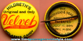 Celluloid HILDRETH'S VELVET MOLASSES CANDY Advertising Pin Back Button