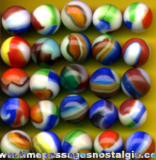 (25) Colorful Old Machine Made Marbles