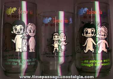 (3) 1970's Kim Love Is ... Drinking Glasses
