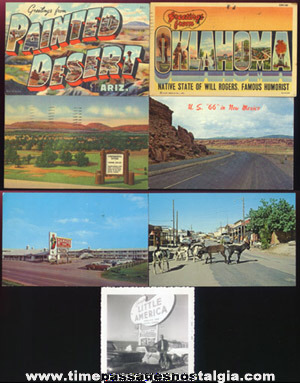 (6) Old Post Cards & (1) 1959 Photograph From Route 66