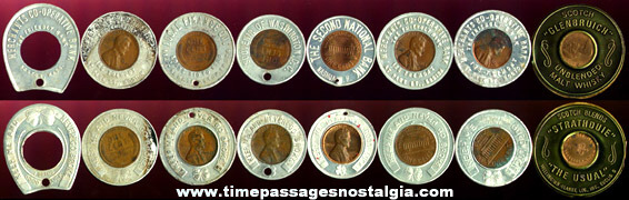 (8) Encased Advertising Good Luck Coins
