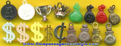 (34) Old Money Related Gum Ball Machine Prize Charms