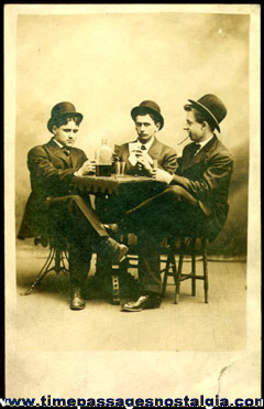 Men Playing Cards Old Unused Real Photo Post Card