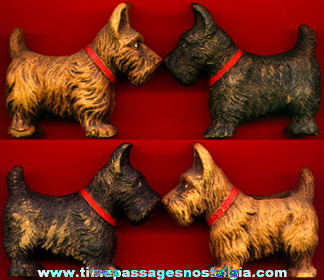 (2) Old Wood Composition Scottish Terrier / Scottie Dog Figures