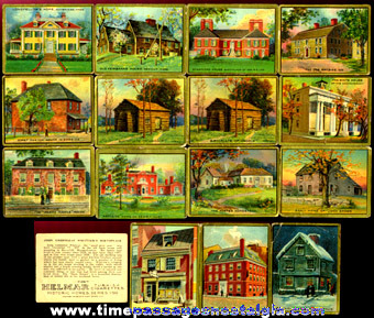 (16) Old Helmar Cigarettes Historic Homes Trading Cards