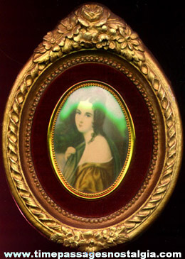 Old Miniature Painted Plaster Plaque With A Young Lady Print