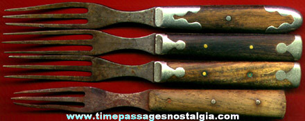 (4) Old Primitive Wood & Metal Forks