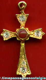 Jeweled Stanhope Cross Necklace Pendant