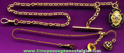 (2) Old Pocket Watch Chains With Charms