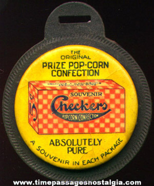 Early 1900's Checkers Popcorn Confection Advertising Premium Watch Fob