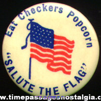 Early 1900s Checkers Popcorn Confection Advertising Premium Celluloid Flag Pin Back Button