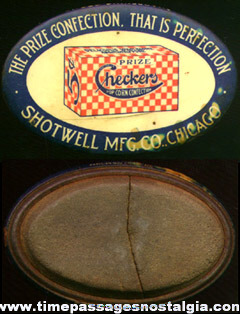 Early 1900's Checkers Popcorn Confection Advertising Premium Sharpening Stone