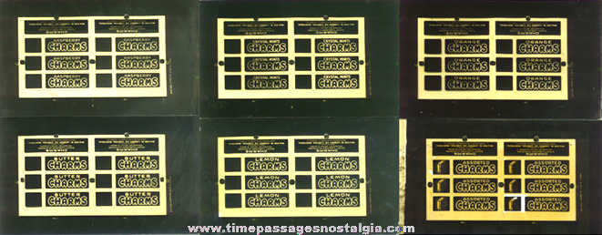 (11) 1935 Charms Candy Glass Negative Printing Plates With Storage Box & Ad