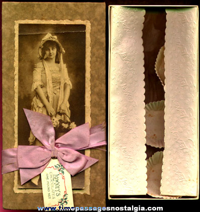 Old Lowney's Candy Box With Young Lady Photograph Tag & Ribbon