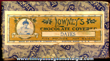 Old 5 lb. Lowney's Chocolate Covered Dates Candy Box