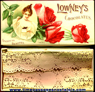 (2) Different Old Lowney's American Beauty Chocolates Candy Containers