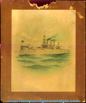 (2) Old Advertising Premium United States Navy Ship Prints