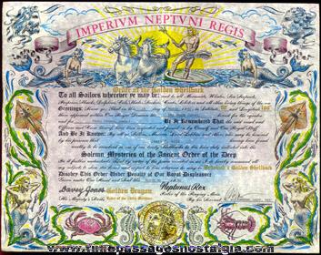 (2) Ornate Navy Shellback Certificates