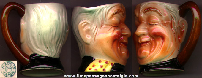 Colorful Old Ceramic Man's Head Pitcher