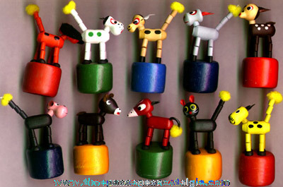 (10) Different Colorful Wooden Animal Push Puppets