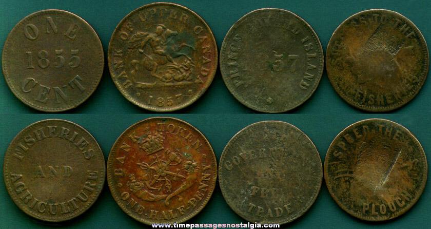 (4) 19th Century Canadian Half Penny & Penny Tokens